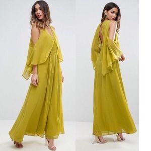 ASOS Drape Cold Shoulder Maxi Dress Slit V Neck